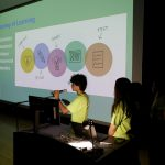 A Clarke County student presents his team's design thinking project during Innovate U.